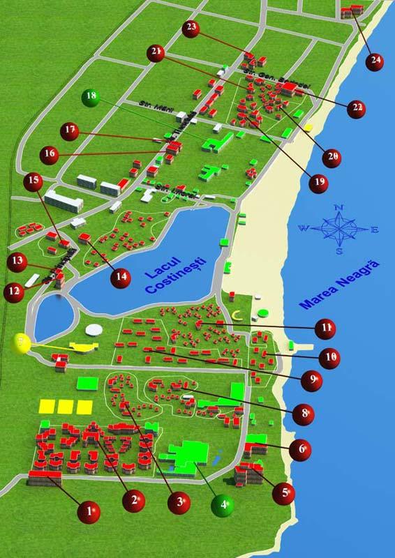 Harta Costinesti Pozitionarea Hotelurilor Pe Harta